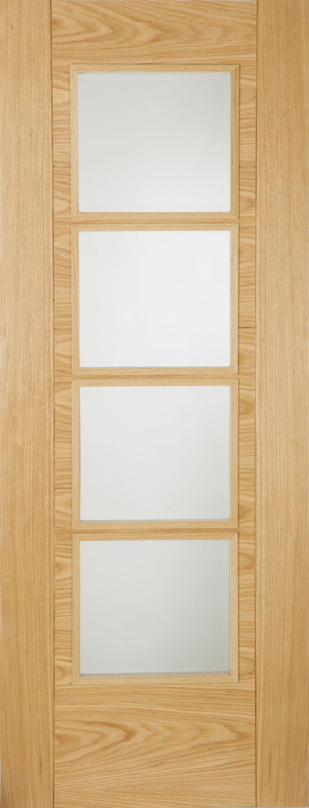 Iseo Oak 4 Light Frosted Glass - Prefinished Image