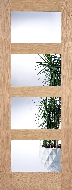 Oak Shaker 4 Light - Prefinished Clear Glass Image