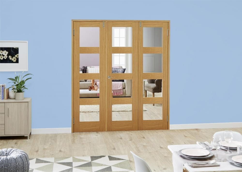 Oak 4l French Folding Room Divider - Clear Image