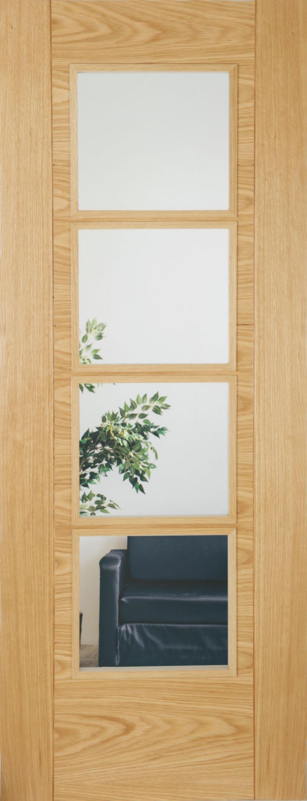 Iseo Oak 4 Light Clear Glass - Prefinished Image
