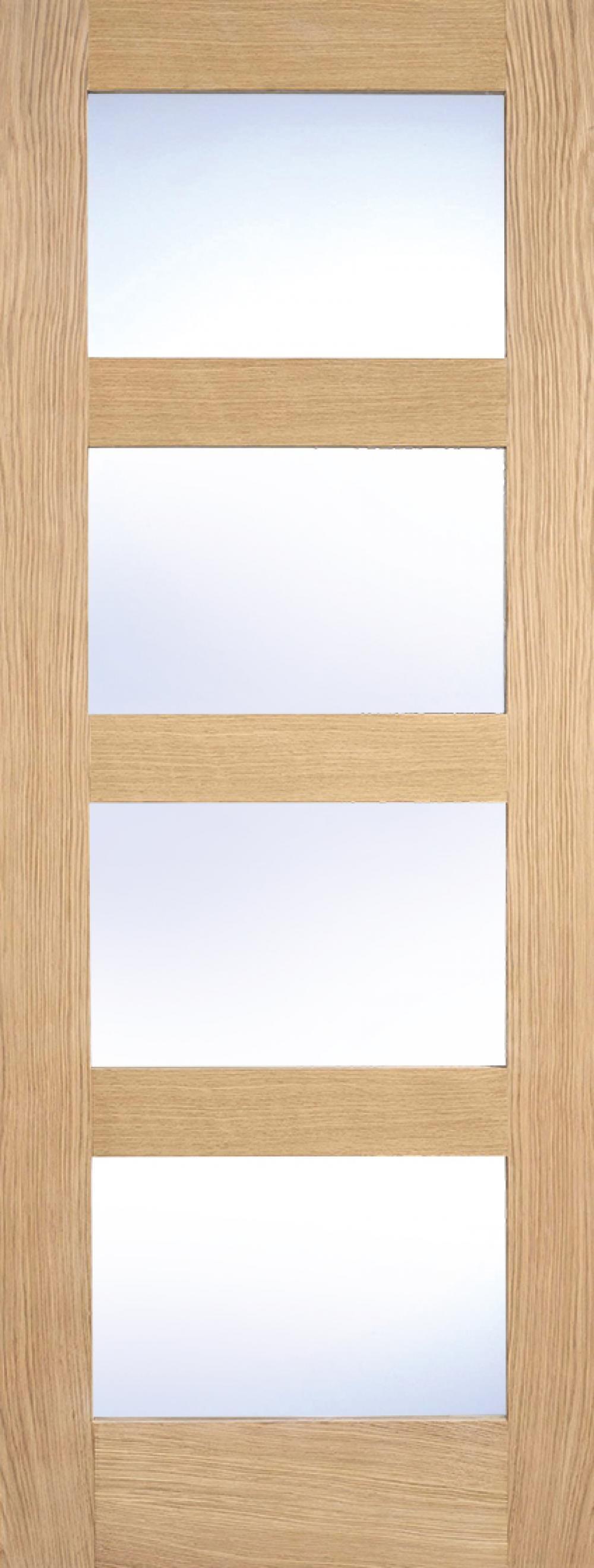 Glazed Oak 4 Light Fire Door - Clear Glass Image