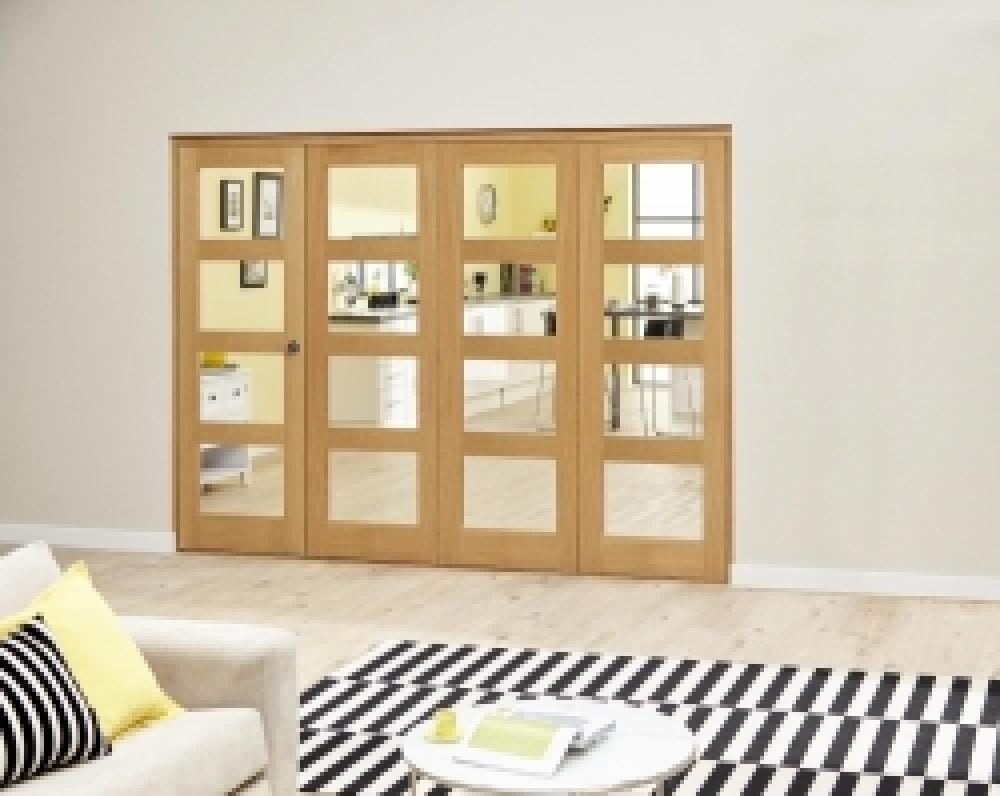 Oak 4l Roomfold Deluxe - Clear Glass Image
