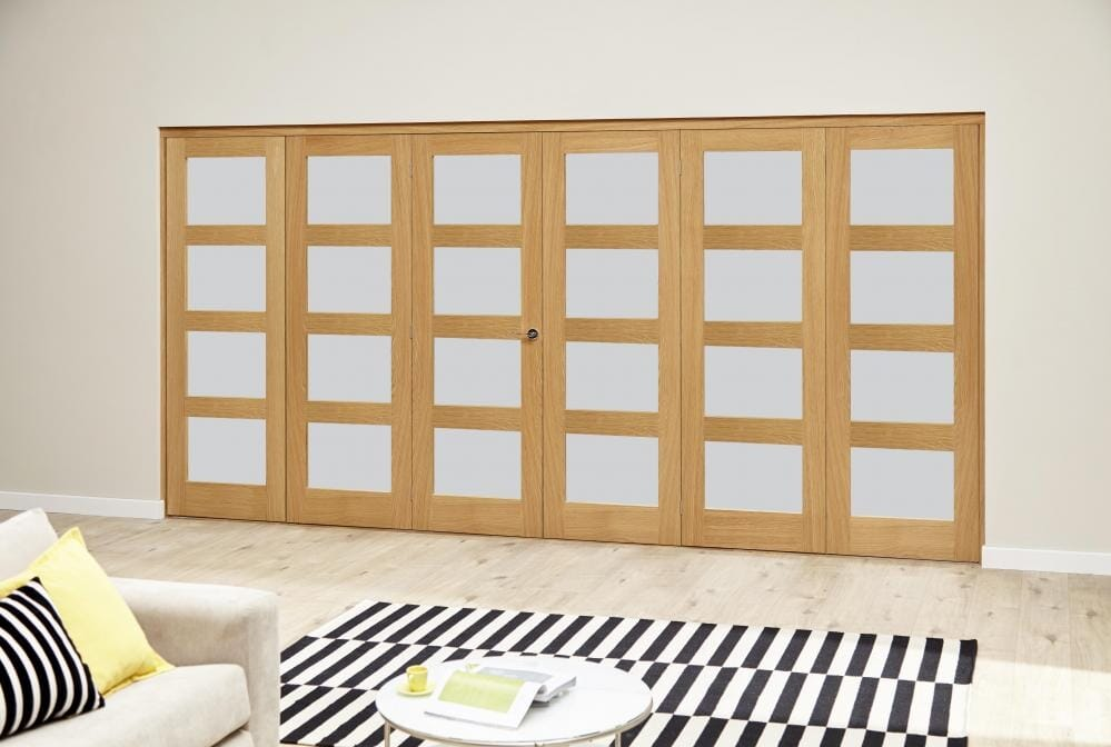 Oak 4l Roomfold Deluxe - Frosted Glass Image