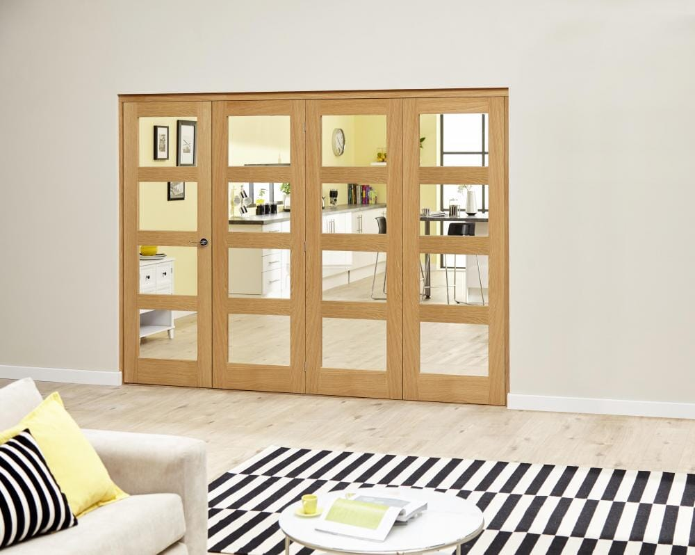 Prefinished Oak 4l Roomfold Deluxe - Clear Glass Image