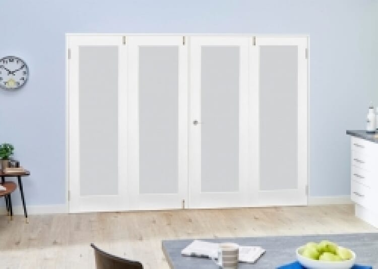 Frosted Glazed White Primed Shaker 4 Door Frenchfold 2400mm Set Image