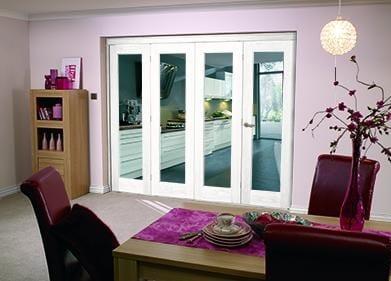 """White Bifold 4 door system ( 4 x 24"""" doors )"""