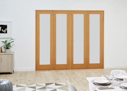 Oak P10 Frosted Folding Room Divider ( 4 x 533mm doors)