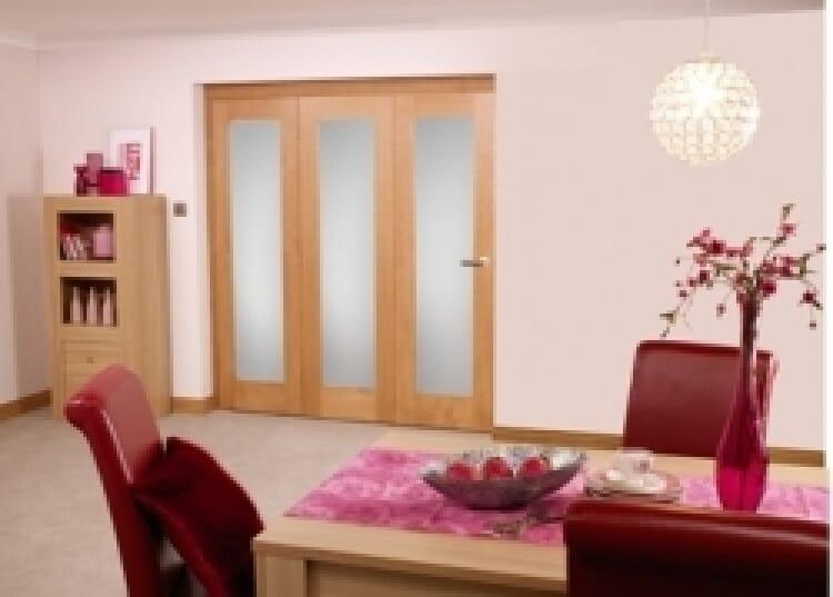 Frosted Glazed Oak - 3 Door Roomfold (1800mm - 6ft Set) Image