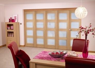 Oak 4L Shaker Glazed Roomfold ( 5 x 2