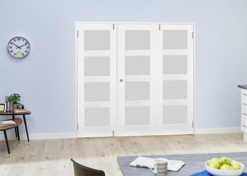 White 4L Frosted Folding Room Divider ( 3 x 533mm doors)