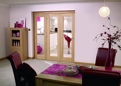 """Glazed OAK - 3 door roomfold (3 x 27"""" doors)"""