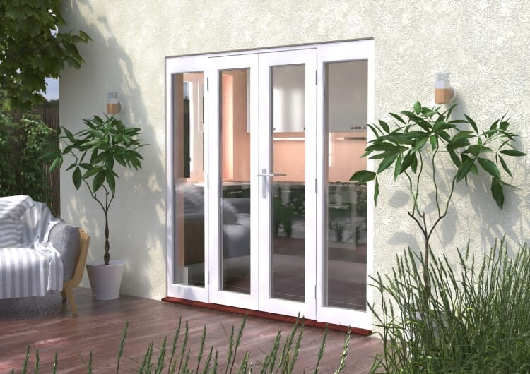 2100mm (7ft) Classic French Doors - 1200 Pair With 2 X 450mm Sidelights Image
