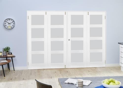 White 4L Frosted Folding Room Divider 8ft ( 2400mm) set
