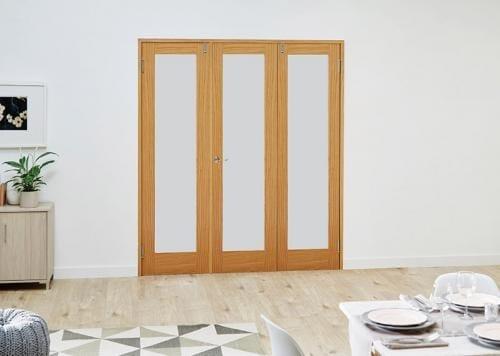 Oak P10 Frosted Folding Room Divider 6ft ( 1800mm ) set