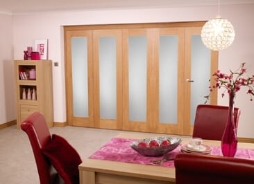 Frosted glazed Oak - 5 door Roomfold (4+1 x 2