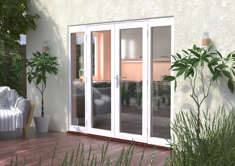 2400mm (8ft) Classic French Doors - 1500 Pair With 2 X 450mm Sidelights Image