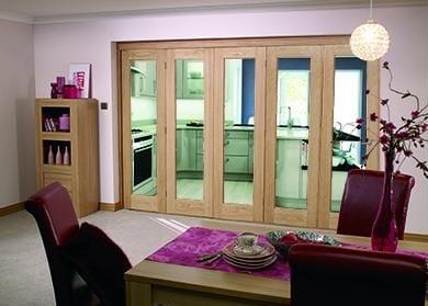 """Glazed OAK - 5 door roomfold (5 x 27"""" doors)"""