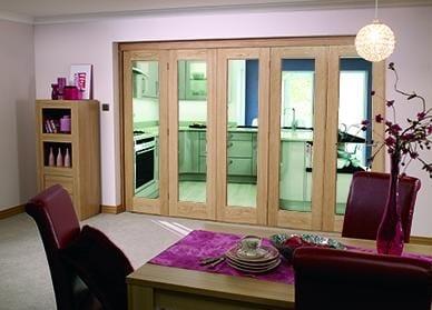 """Glazed OAK - 5 door roomfold (5 x 24"""" doors)"""