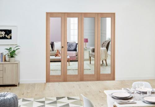 Slimline Oak P10 Roomfold Deluxe ( 4 x 419mm Doors)