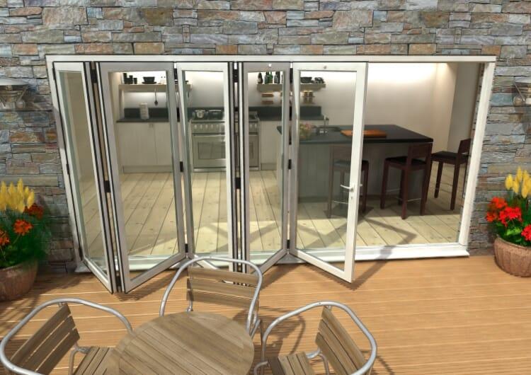 4200mm ( 5 + 0 ) White Aluminium Bifold Doors - Climadoor Image