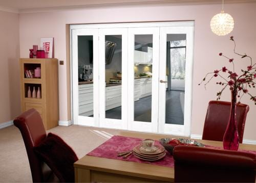 White Bifold 4 door system 2400mm Set
