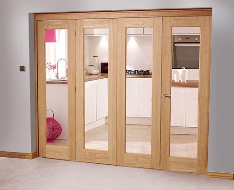 Glazed Oak - 4 Door Roomfold ( 2400mm (8ft) Set ) Image