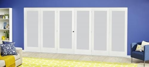 White P10 Frosted Roomfold Deluxe ( 3 + 3 x 686mm doors )