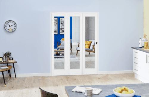 """Slimline White Bifold 3 door system ( 3 x 18"""" Doors)"""