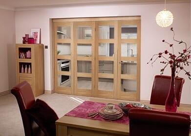 Oak Pre finished 4 Light Bifold door ( 4 x 2