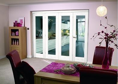 """White Bifold 4 door system ( 4 x 21"""" doors )"""