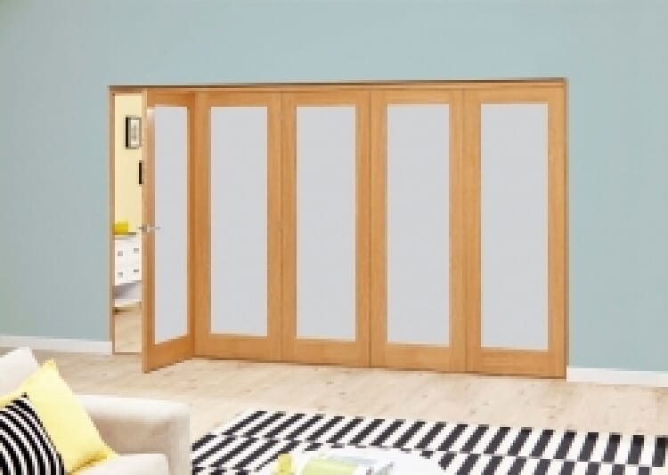 Frosted Glazed Oak - 5 Door Roomfold Deluxe 2943mm X 2078mm - (3000mm Set) Image