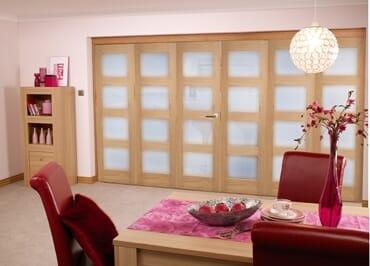 Oak Pre finished 4L Roomfold door (6 door 3+3 x 2