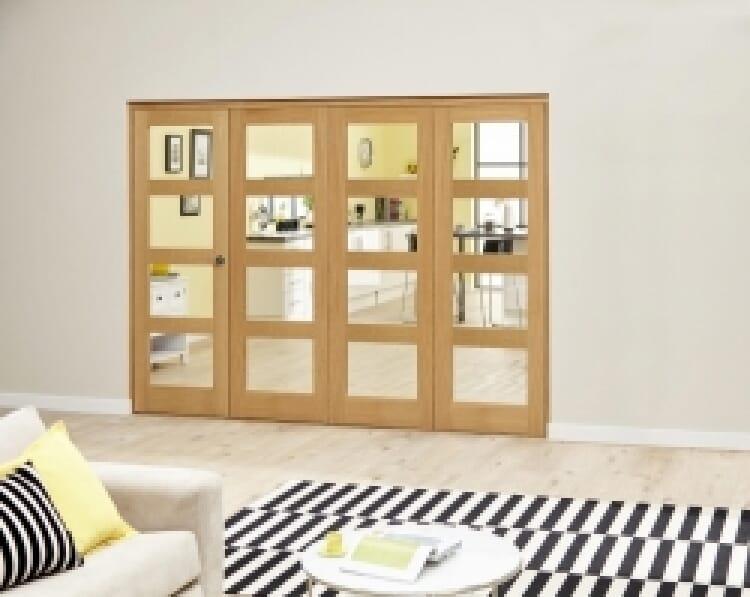 Oak 4l - 3 + 1 Door Roomfold Deluxe 2370mm X 2078mm ( 2400mm Set ) Image