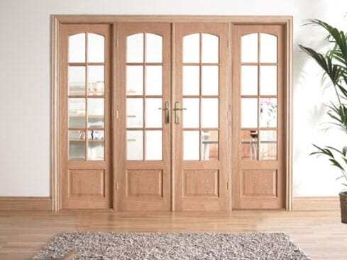 W8 OAK Interior French Door set with sidelights