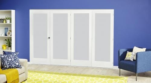 White P10 Frosted Roomfold Deluxe ( 4 x 762mm doors )