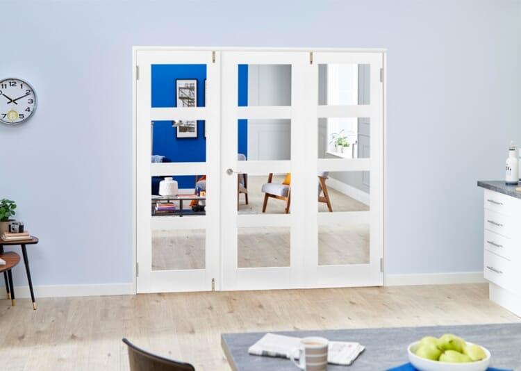 Clear Glazed White Primed Shaker Frenchfold 4l  3 Door (3 X 2