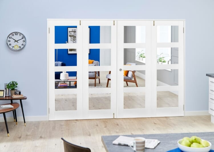 Clear Glazed White Primed Shaker Frenchfold 4l  4 Door (4 X 1
