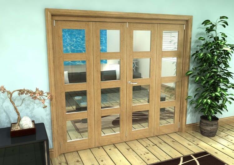 Glazed Oak Prefinished 4 Door 4l Roomfold Grande (2 + 2 X 533mm Doors) Image