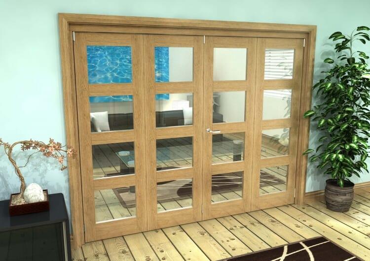 Glazed Oak Prefinished 4 Door 4l Roomfold Grande (2 + 2 X 762mm Doors) Image