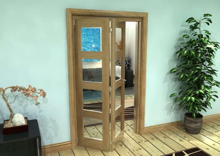 Glazed Oak Prefinished 2 Door 4l Roomfold Grande (2 + 0 X 533mm Doors) Image