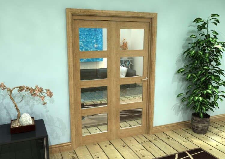 Glazed Oak Prefinished 2 Door 4l Roomfold Grande (2 + 0 X 610mm Doors) Image