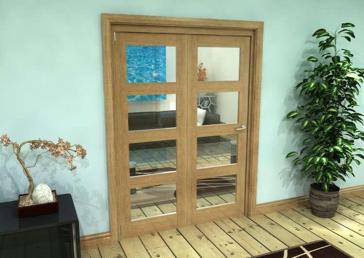 Glazed Oak Prefinished 2 Door 4l Roomfold Grande (2 + 0 X 762mm Doors) Image