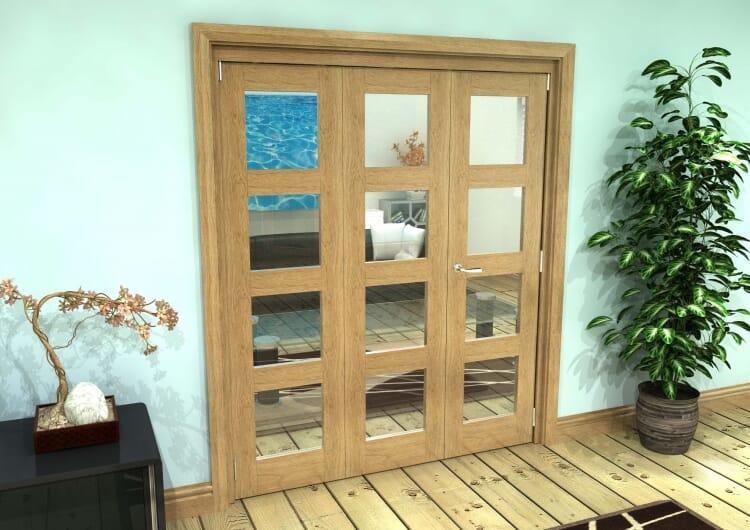 Glazed Oak Prefinished 3 Door 4l Roomfold Grande (2 + 1 X 610mm Doors) Image