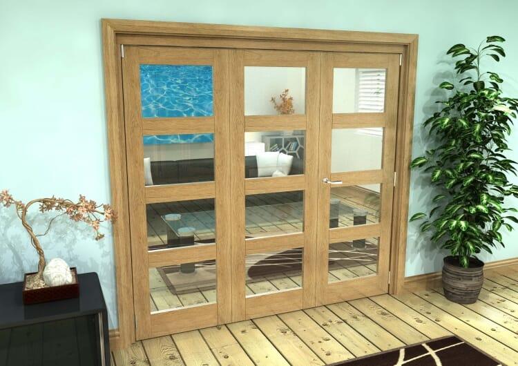 Glazed Oak Prefinished 3 Door 4l Roomfold Grande (2 + 1 X 762mm Doors) Image