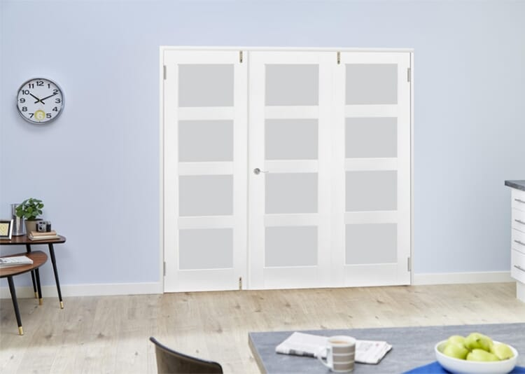 Frosted Glass White Primed Shaker Frenchfold 4l  3 Door (3 X 1