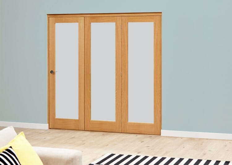 Frosted Glazed Oak - 3 Door Roomfold Deluxe (3 X 1