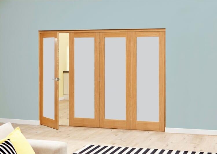 Frosted Glazed Oak - 4 Door Roomfold Deluxe (4 X 1