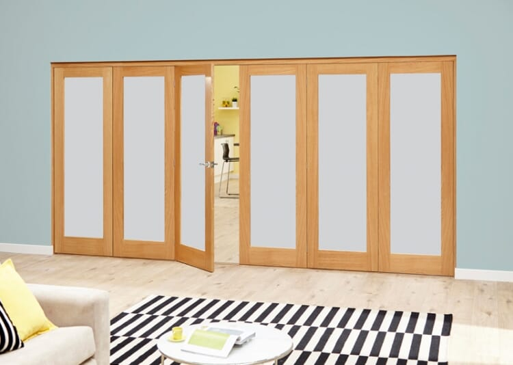 Frosted Glazed Oak - 6 Door Roomfold Deluxe (3+3 X 2