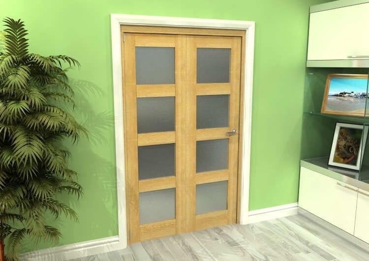 Frosted Glazed Oak 2 Door 4l Roomfold Grande (2 + 0 X 573mm Doors) Image