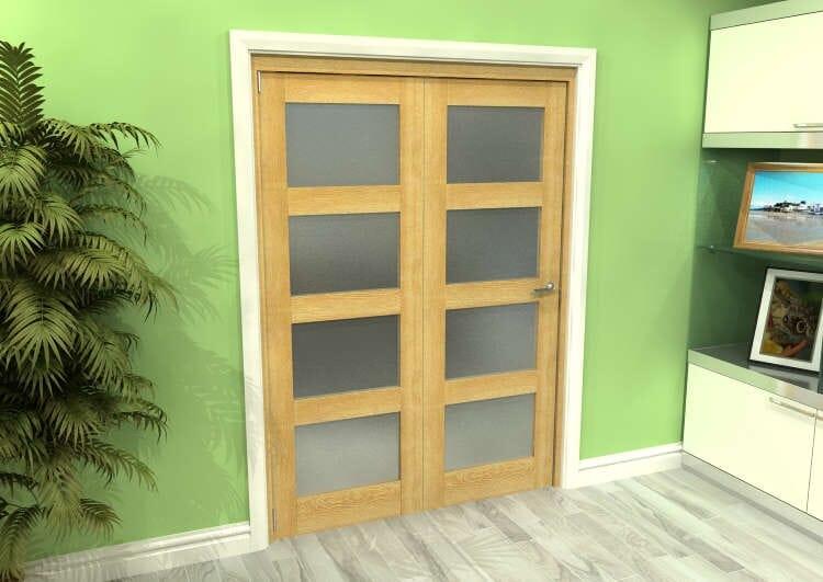 Frosted Glazed Oak 2 Door 4l Roomfold Grande (2 + 0 X 762mm Doors) Image